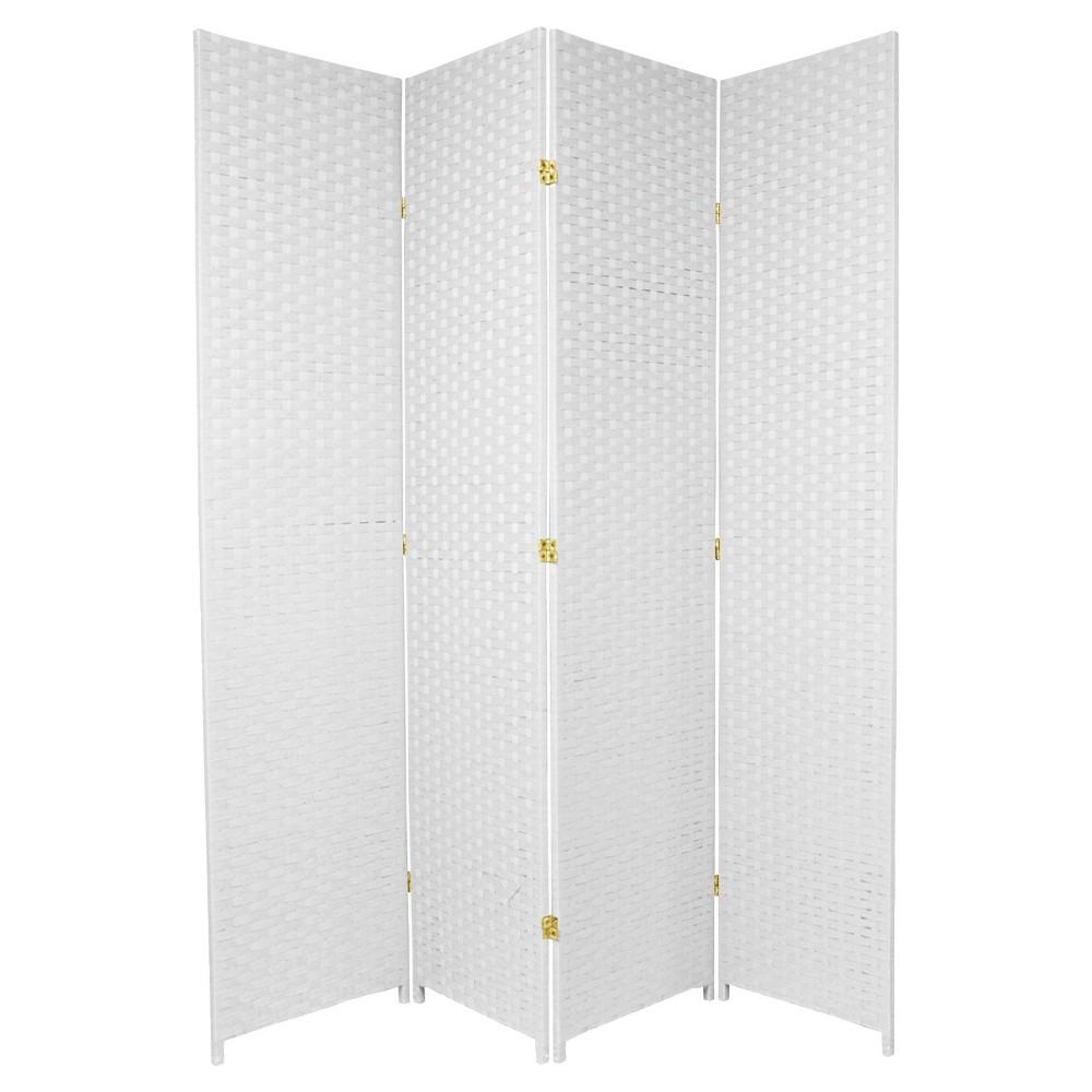 7 Ft Tall Woven Fiber Room Divider White 4 Panels