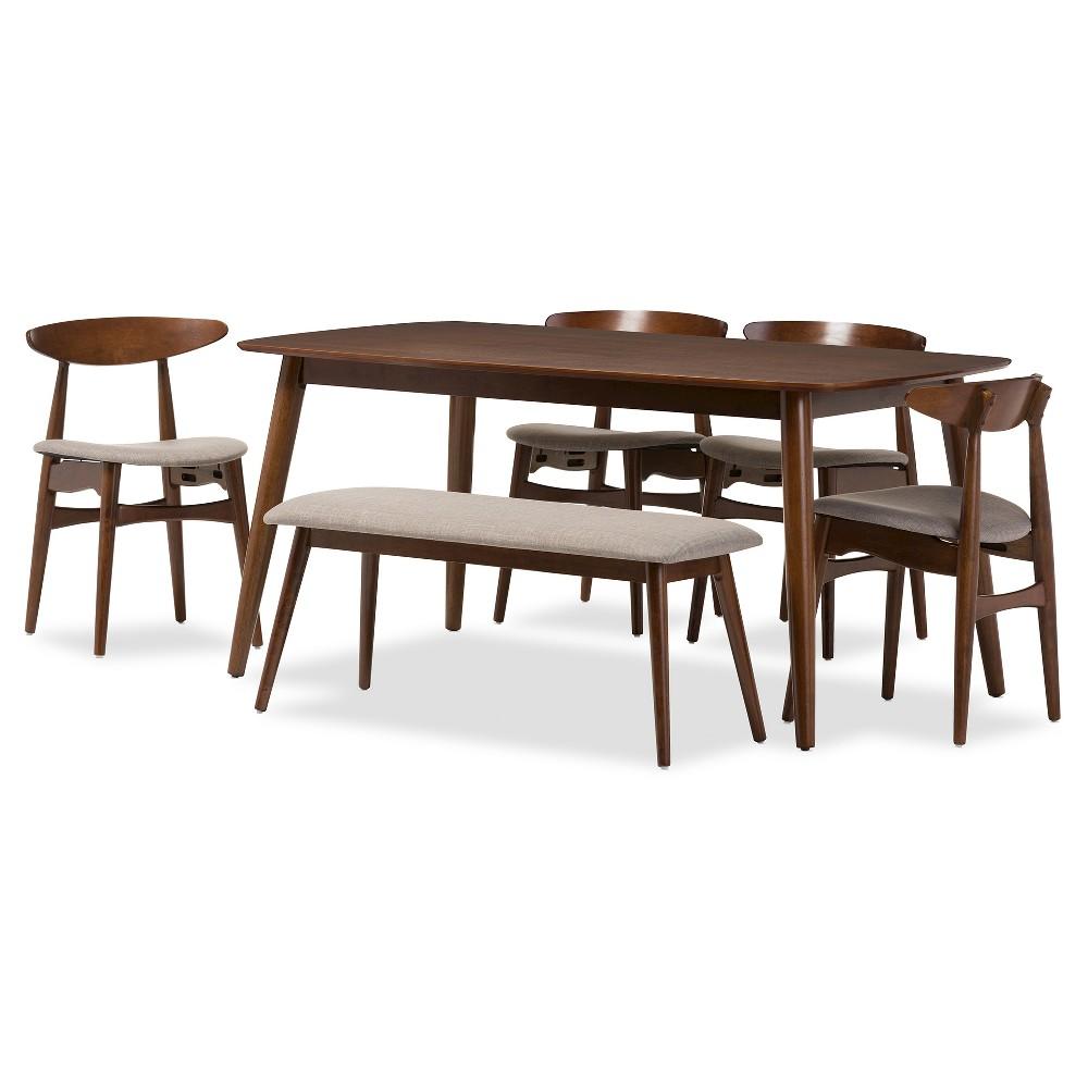 Flora Mid-Century Modern Light Gray Fabric & Oak Medium Brown Finishing Wood 6-Piece Dining Set - Baxton Studio