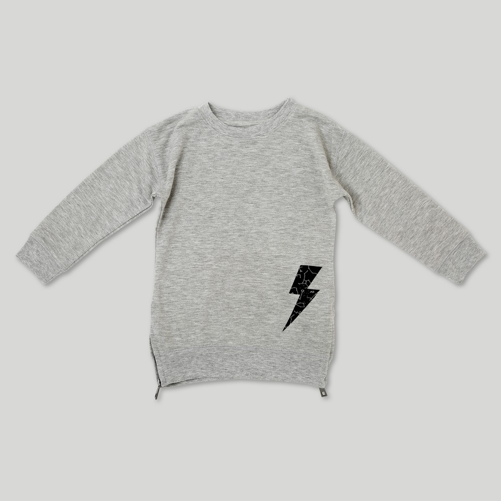 Toddler Boys' Afton Street Starmap Bolt Long Sleeve Sweatshirt - Ceramic Gray 5T