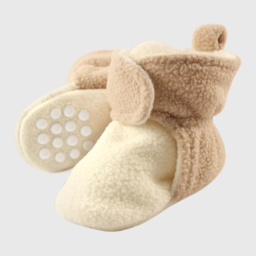 Luvable Friends Baby Fleece Booties - Beige 12-18M, Infant Unisex