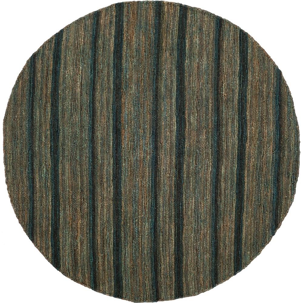 6' Stripe Knotted Round Area Rug Blue/Light Gray - Safavieh