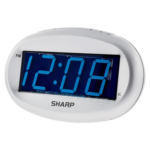 LED Alarm Clock with Dimmer Silver - Sharp - image 1 of 3