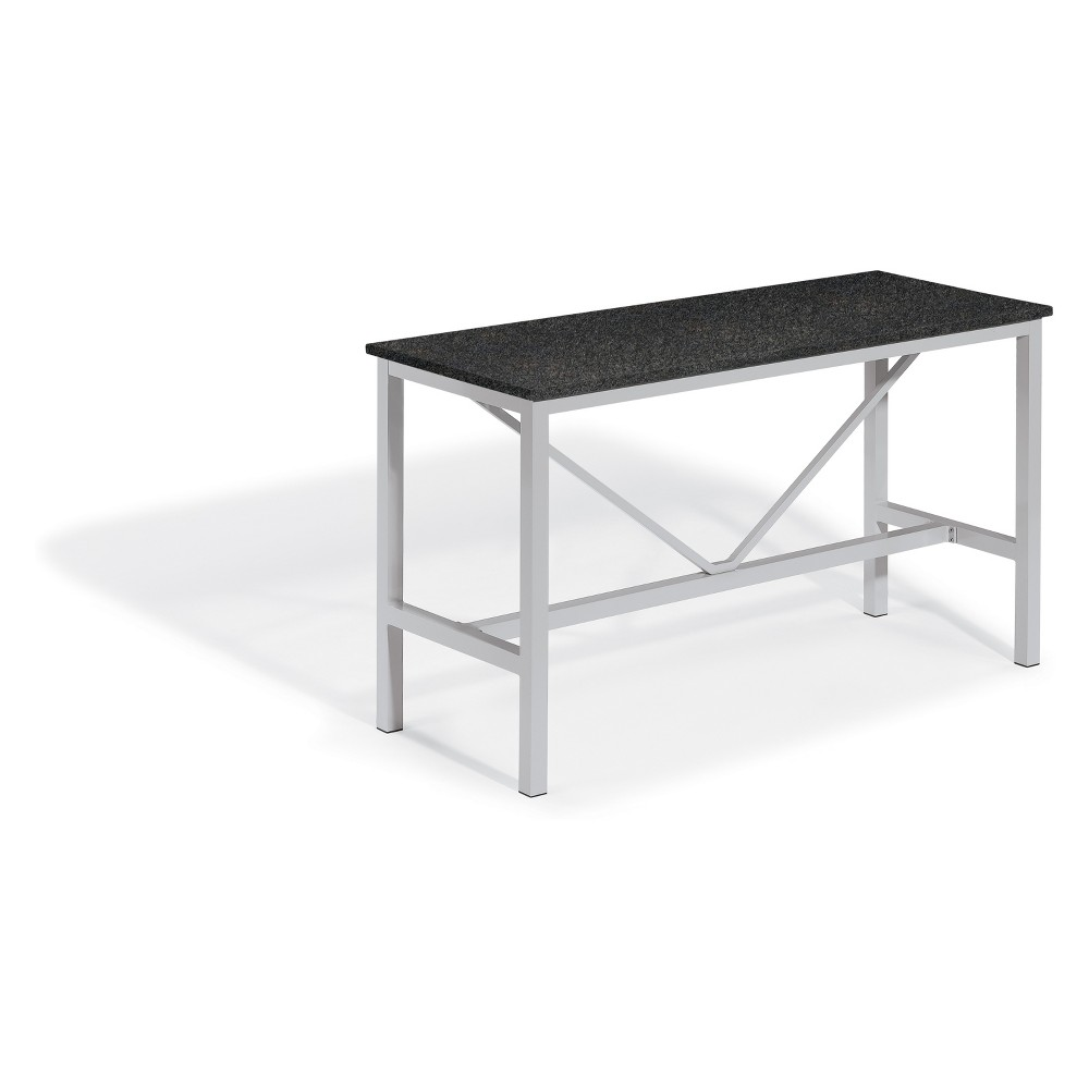 "Image of ""72"""" Travira Rectangular Bar Table with Powder-Coated Aluminum Frame and Lite-Core Charcoal Top - Oxford Garden"""