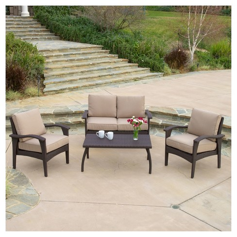 Honolulu Outdoor 4pc Wicker Seating Set and Cushions - Christopher Knight Home - image 1 of 4