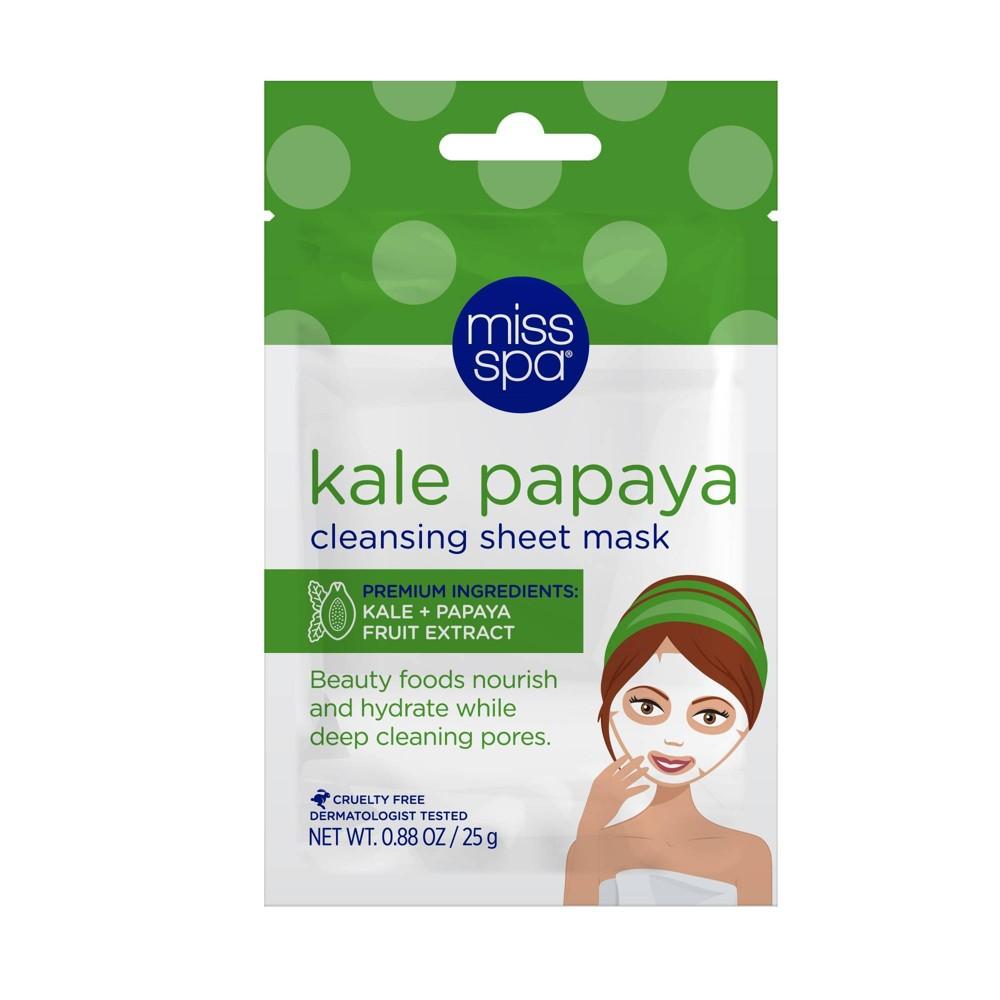 Miss Spa Kale Papaya Cleansing Sheet Mask 1ct 0 88oz