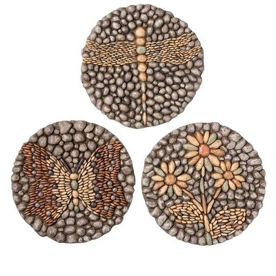Plow & Hearth - Mosaic Garden Stepping Stones with Dragonfly, Butterfly, & Flower, Set of 3