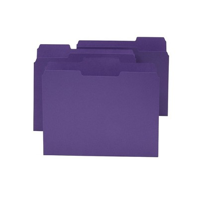 MyOfficeInnovations Colored Top-Tab File Folders, 3 Tab, Purple, Letter Size, 24/Pack