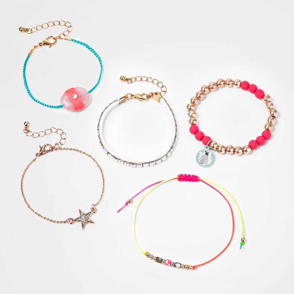 Girls' 5pc Bracelet Set - Cat & Jack, Multi-Colored