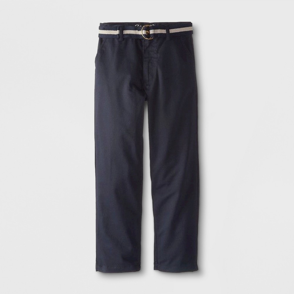 Eddie Bauer Boys' Twill Uniform Chino Pants with Belt - Navy (Blue) 8