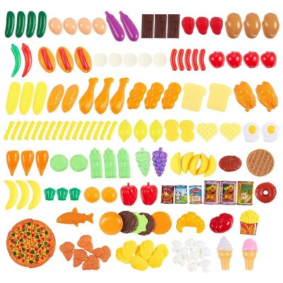 150PCS Kids Play Food Set Fake Toy Foods Pretend Play with Food Pyramid Card
