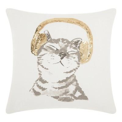 DJ Glitter Kitten Square Throw Pillow White/Gold - Mina Victory