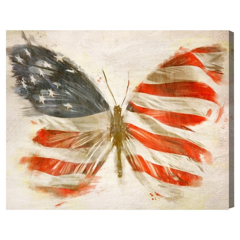 "Image of ""Oliver Gal Unframed Wall """"American Butterfly"""" Canvas Art (16x12), Multi-Colored"""