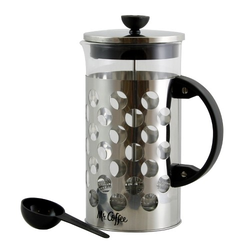Mr. Coffee Polka Dot Brew 32 oz Silver Glass Coffee Press with Scoop - image 1 of 4