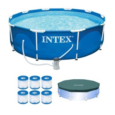 Intex Metal Frame Pool w/ Pump & Type H Filters (6 Pack) & 10' Round Pool Cover
