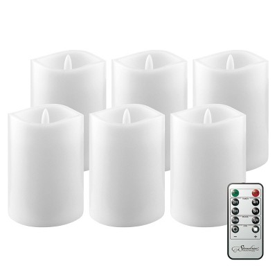 6pk Real Wax LED Candles with Remote Control White - Stonebriar Collection