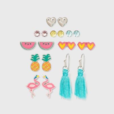 Girls' 9pk Summer Fruit Earring Set - Cat & Jack™