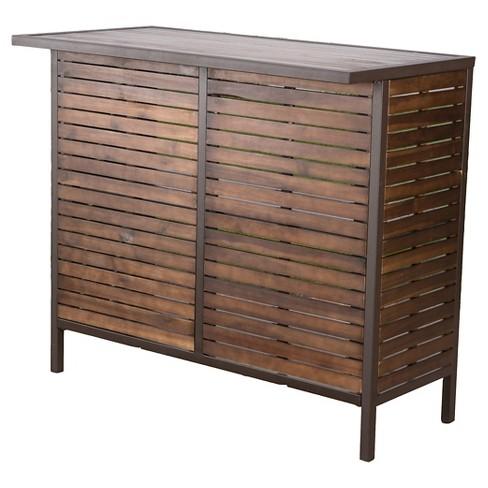 Milos Acacia Bar Table - Dark Brown / Rustic Metal - Christopher Knight Home - image 1 of 4