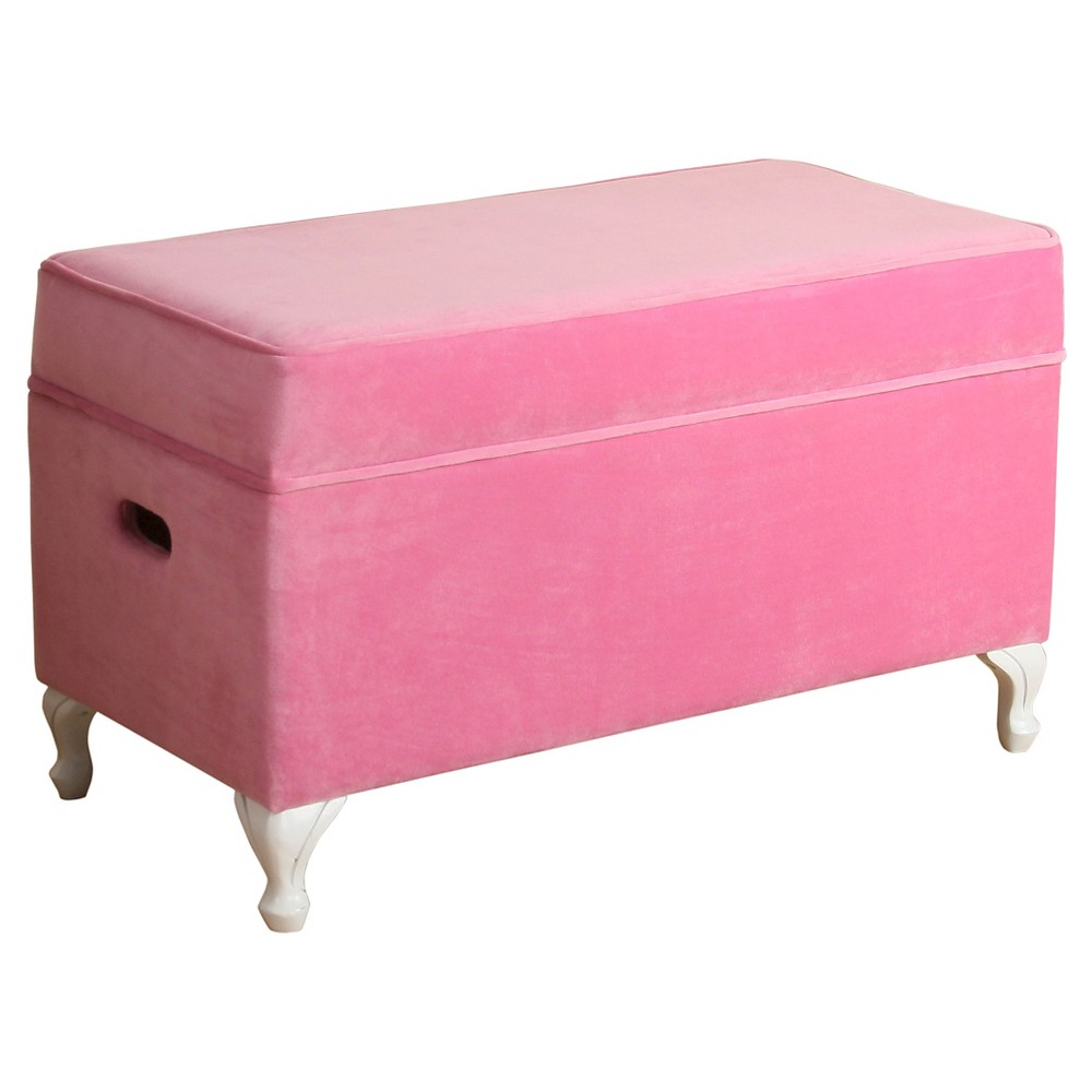 Image of Diva Decorative Storage Bench Kids Storage Ottoman Pink - Homepop