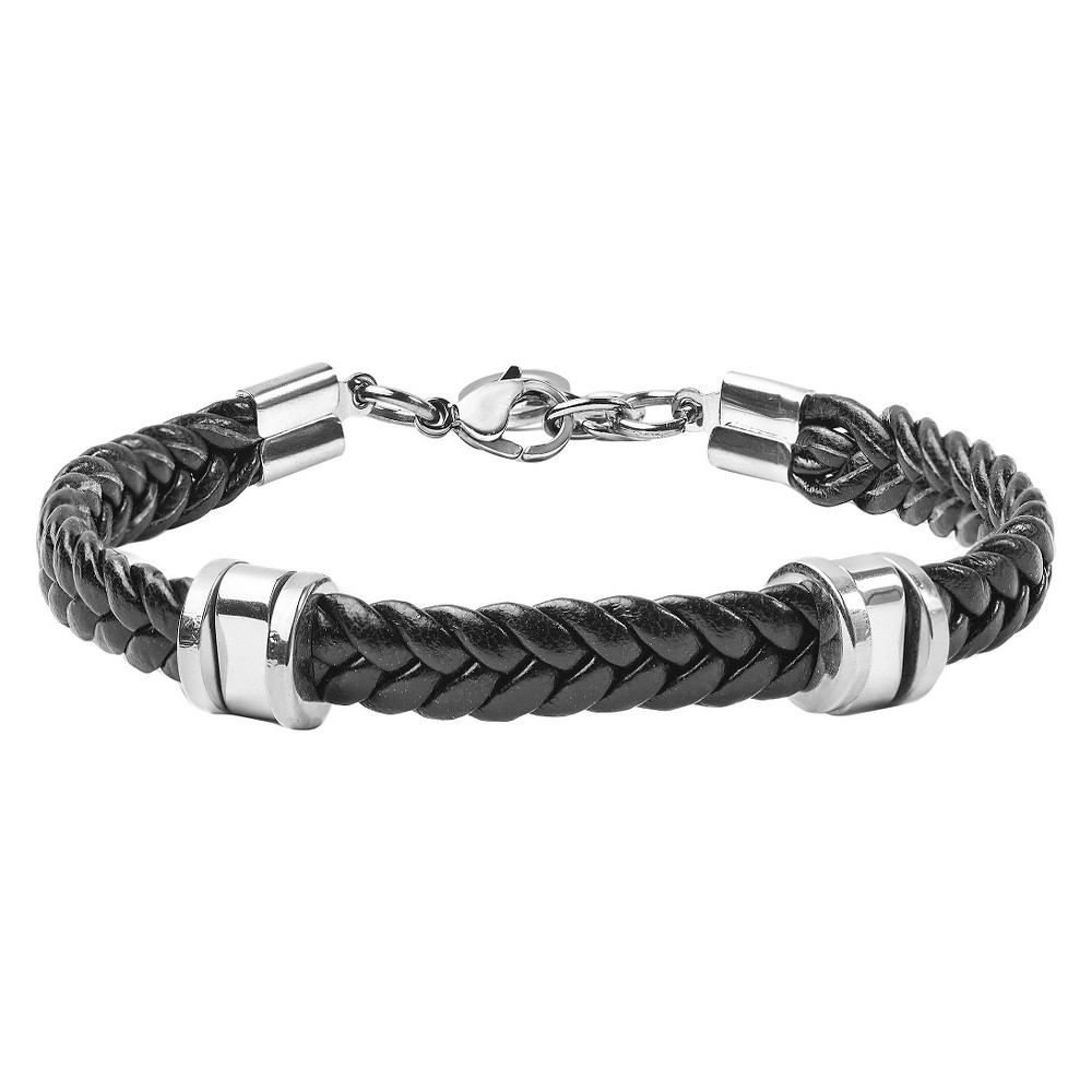 Men's West Coast Jewelry Stainless Steel and Braided Rubber Bracelet, Black/Silver