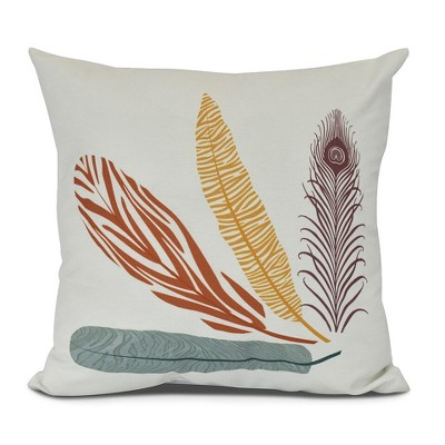 Orange Feather Study Floral Print Pillow Throw Pillow (16 x16 )- E by Design