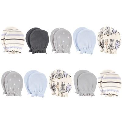 Hudson Baby Infant Boy Cotton Scratch Mittens, Royal Safari, 0-6 Months