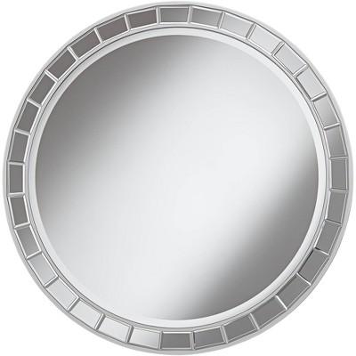 """Possini Euro Design Possini Euro Kesha 36"""" Antique Silver Round Wall Mirror"""