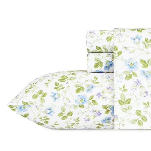 Laura Ashley Spring Bloom Flannel Sheet Set - Blue - image 1 of 3