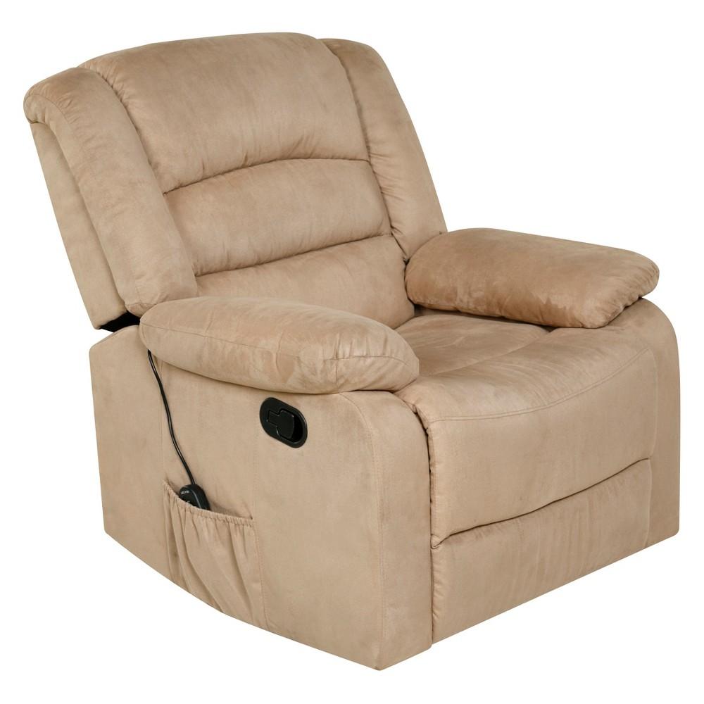 Image of 2pc Relaxzen Rocker Recliner With Heat Massage Usb Microfiber Beige