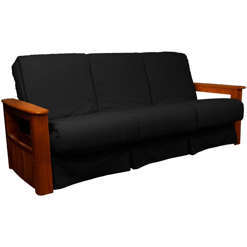 Flip Top Arm Perfect Futon Sofa Sleeper Walnut Wood Finish Black - Epic Furnishings