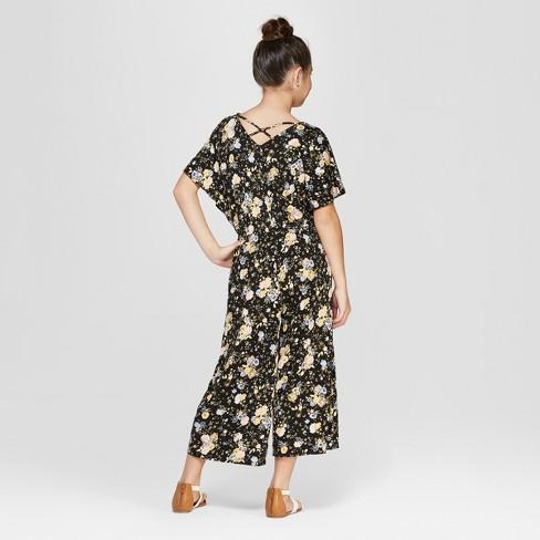 ca72504e2682 Girls  Floral Short Sleeve Jumpsuit with Criss Cross Back - art class™ Black