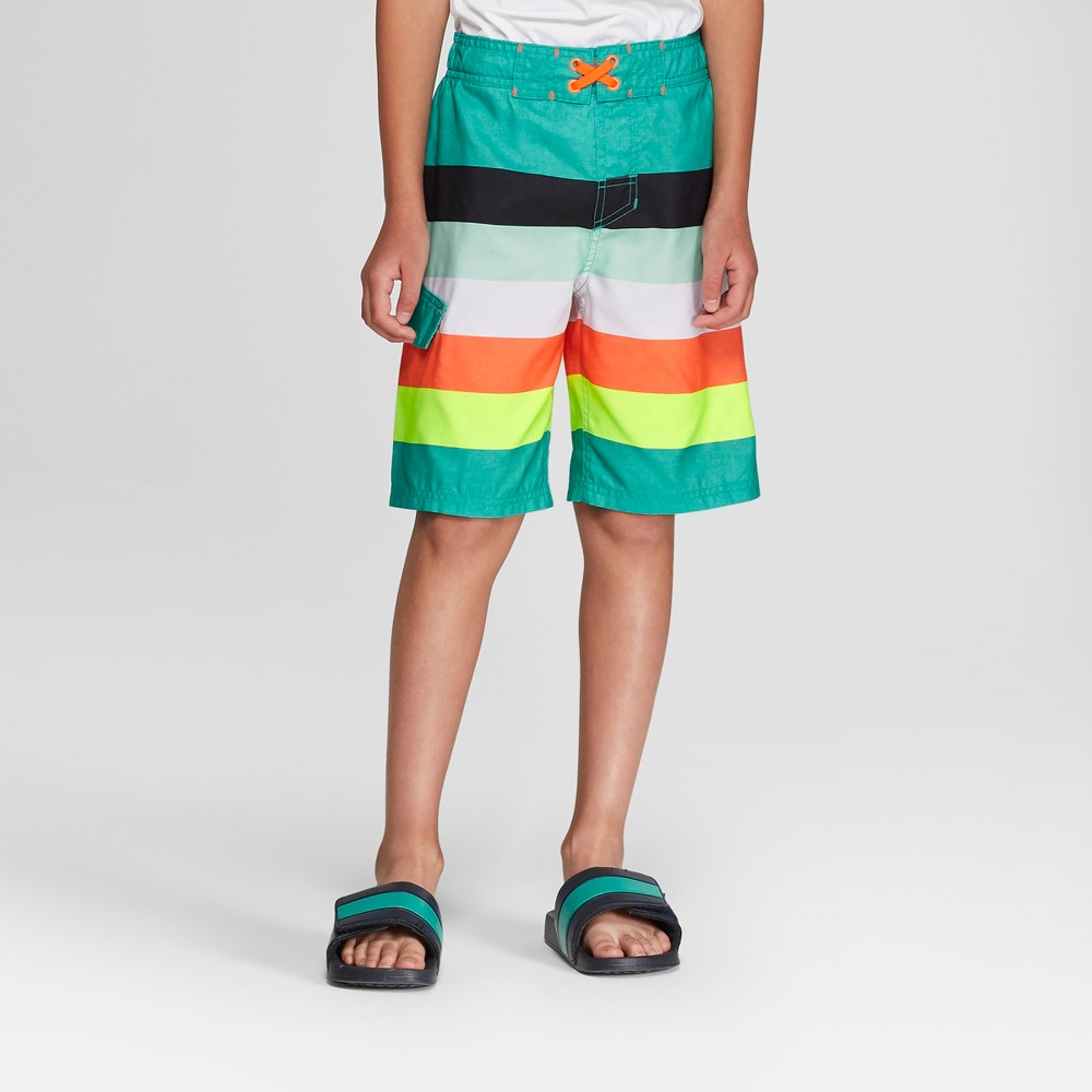Boys' Multi Stripe Swim Trunks - Cat & Jack Turquoise XL Husky, Blue