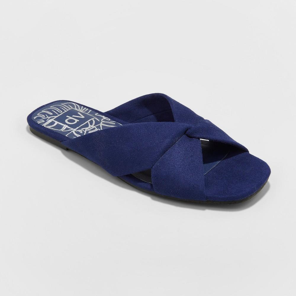 Women's dv Addie Microsuede Knotted Slide Sandals - Blue 5