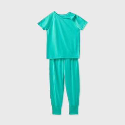 Kids' Adaptive 2pc Pajama Set - Cat & Jack™ Green