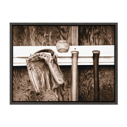 """18"""" x 24"""" Sylvie Bat Glove and Ball In The Dugout Framed Canvas By Saint and Sailor Studio - DesignOvation"""