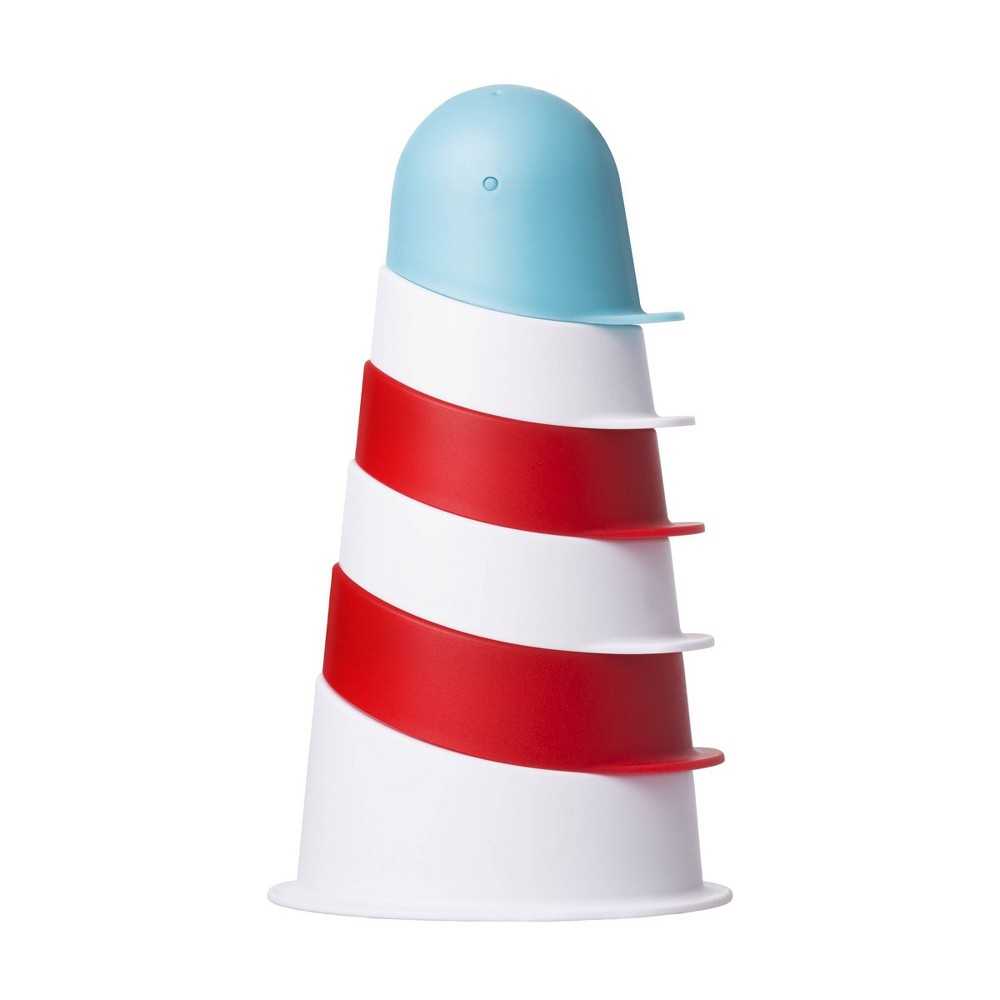 Image of Ubbi Lighthouse Stacking Cups Bath Toy