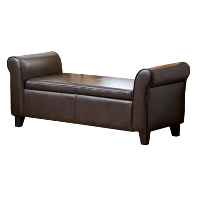 Henry Leather Storage Ottoman Bench Brown   Abbyson Living