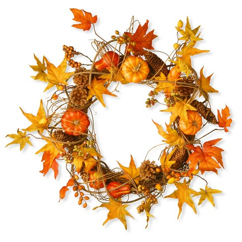 "National Tree Company Wreath with Pumpkins Maples and Leaves Red/Orange (21"") - image 1 of 1"