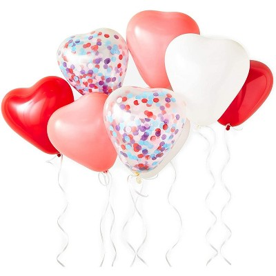 Sparkle and Bash 83 Pieces Heart Shaped and Red Confetti Balloons with Pump