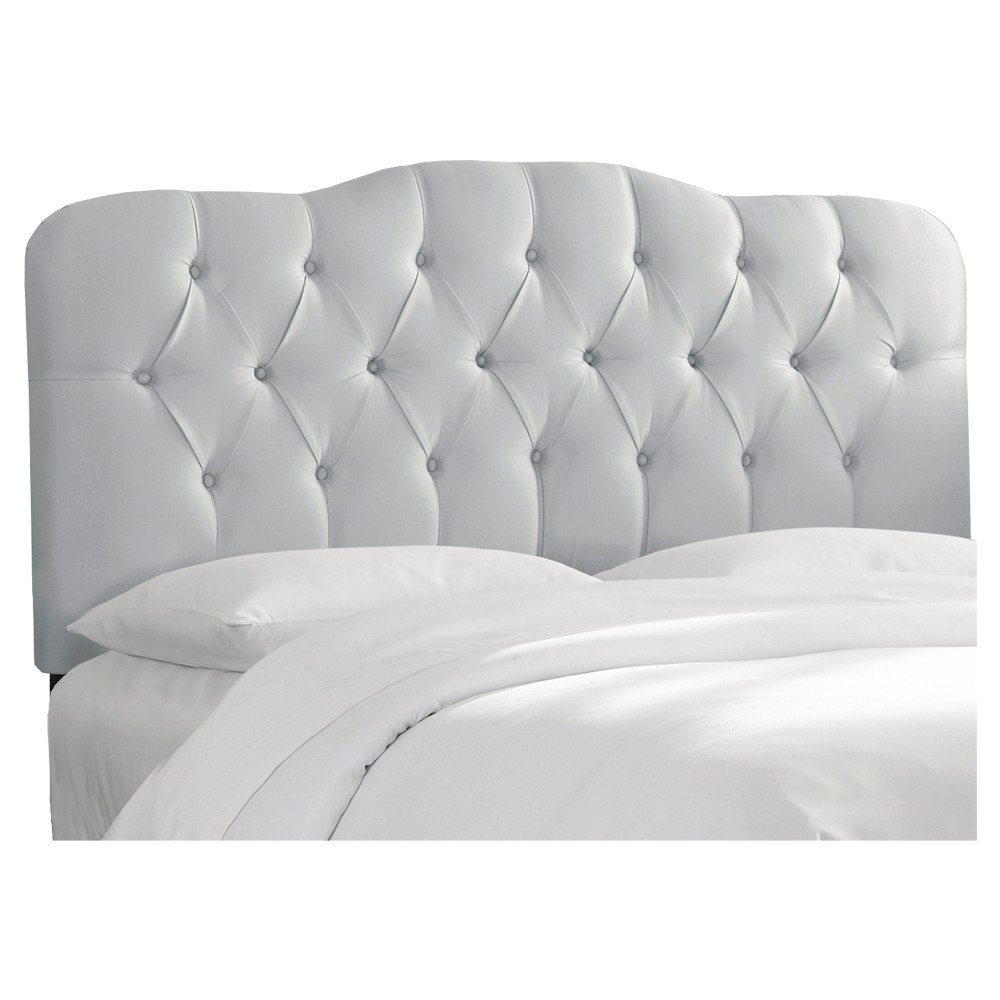 Seville Faux Silk Upholstered Headboard - Shantung Silver - Full - Skyline Furniture