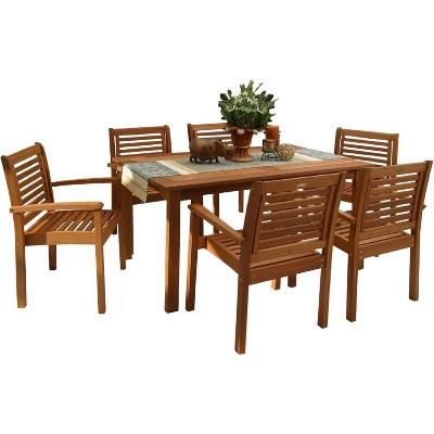 Milano 7pc Patio Eucalyptus Wood Rectangular Dining Set - International Home Miami