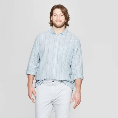 Men's Big & Tall Striped Long Sleeve Linen Cotton Button-Down Shirt - Goodfellow & Co™ Horizon Blue - image 1 of 3