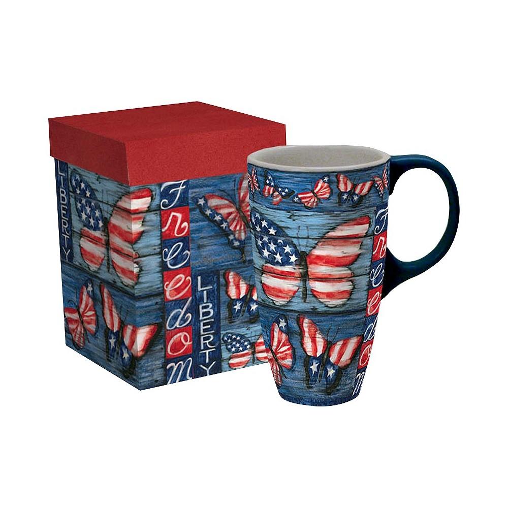 Image of Lang Ceramic Liberty Latte Mug 18 oz, Multi-Colored
