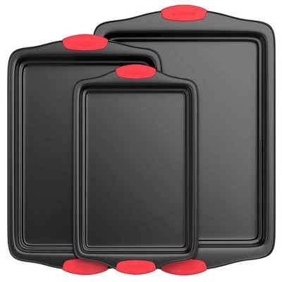 NutriChef Kitchen Oven Non Stick Gray Coating Carbon Steel 3 Piece Cookie Sheets Bakeware Set with Heat Resistant Red Silicone Handles (2 Pack)