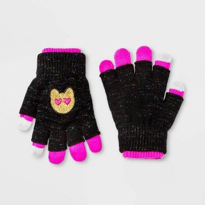 Girls' Emojination Sequin Gloves - Black One Size