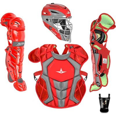 All-Star Sports S7 Axis Ages 12 to 16 Protective Baseball Catchers Gear Set with Mask Helmet, Chest Protector, and Leg Guards, Scarlet