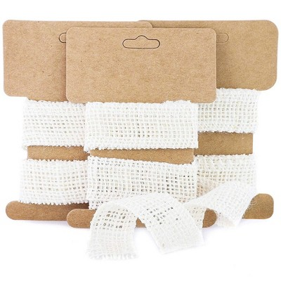 """Genie Crafts 24-Pack White Burlap Fabric Ribbon Rolls 1"""" x 1 Yard for Crafts, Sewing"""