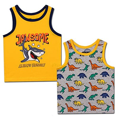 10 Threads Boy's 2-Pack Dinosaur Printed Sleeveless Tank Top Shirt for Kids