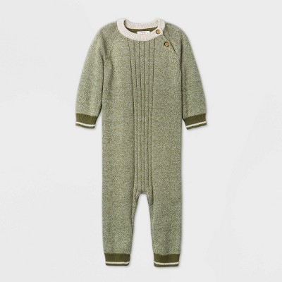 Baby Boys' Long Sleeve Marl Sweater Romper - Cat & Jack™ Green 12M