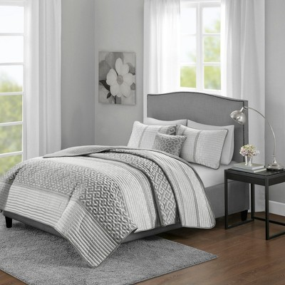 4pc King/California King William Jacquard Coverlet Set Gray