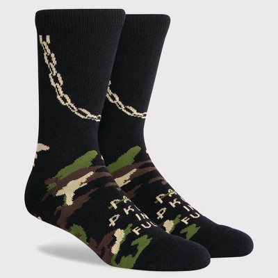 PKWY by Dwyane Wade Men's Camo Print Chainz Crew Socks - Khaki/Black L